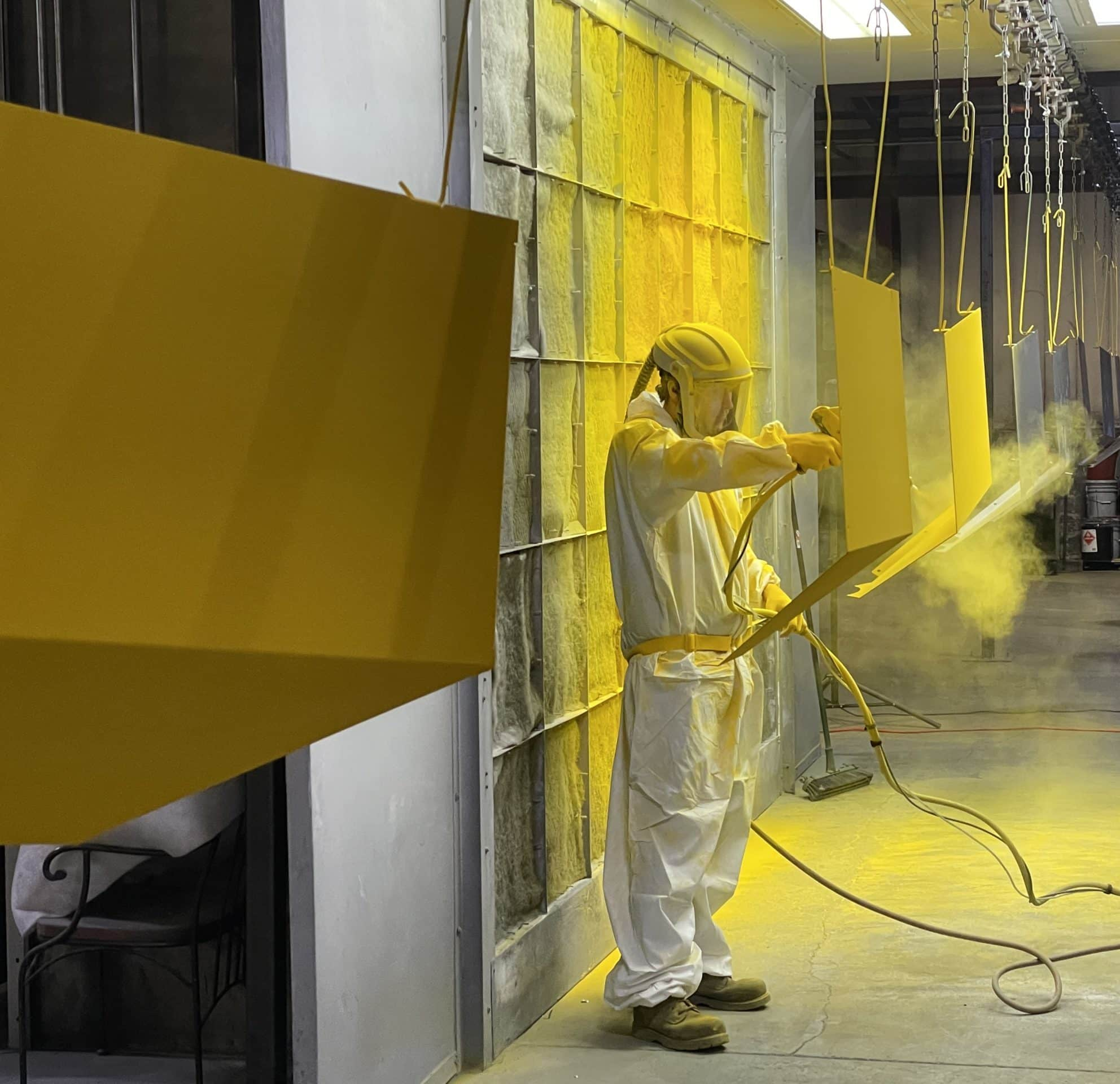 Powder Coating Application Yellow Paint