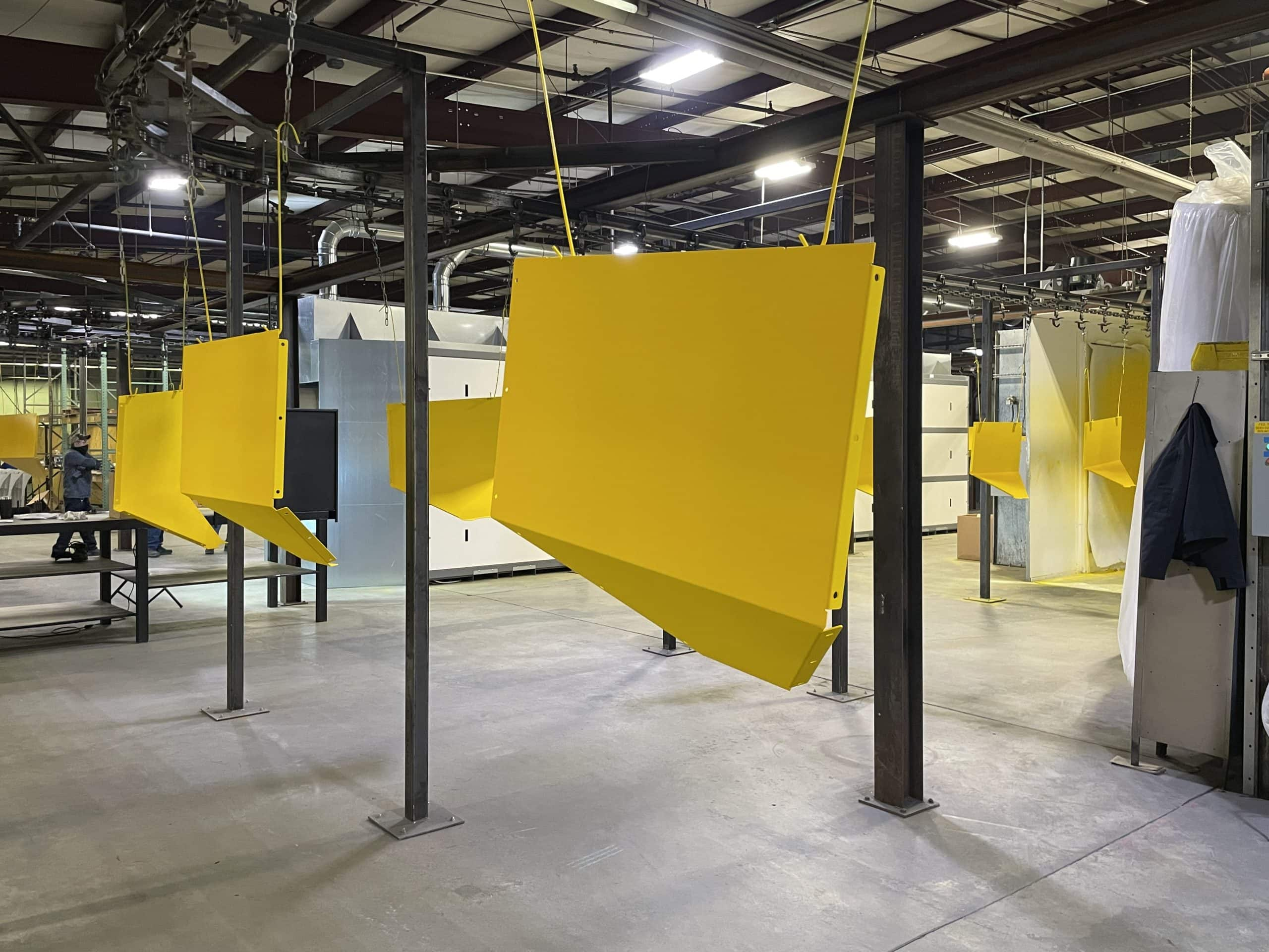 Powder Coating Line Large Yellow Parts