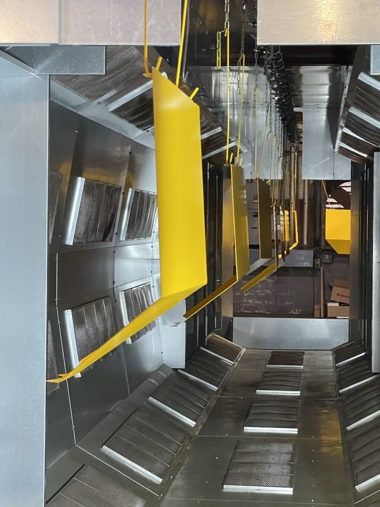 Powder Coating Oven with Yellow Parts
